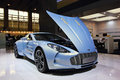 Aston martin one a light blue in auto show guangzhou Royalty Free Stock Photo