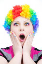 image photo : Astonish clown with rainbow make up