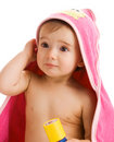 Astonished baby in towel Stock Photos