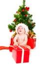 Astonished Christmas baby Royalty Free Stock Photo