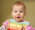 Astonished young baby portrait of Royalty Free Stock Photo