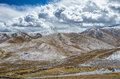 Astonishing Tibetan cloudy sky and high altitude snowy mountains Royalty Free Stock Photo