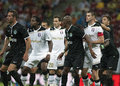 Astra giurgiu omonia nicosia uefa europa league football players pictured at a free kick during the qualifier game between romania Stock Image
