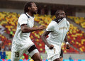 Astra giurgiu omonia nicosia uefa europa league s fwayo tembo and bukari sadat celebrate a goal during the qualifier game between Royalty Free Stock Photo