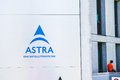 Astra offices in unterföhring sign infront of the Royalty Free Stock Image