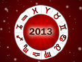 Astro 2013 , horoscope circle with zodiac signs Royalty Free Stock Photo