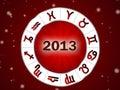 Astro 2013 , horoscope circle with zodiac signs Royalty Free Stock Photo