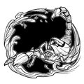 Astrological scorpio black sketch isolated on white background Royalty Free Stock Photo