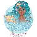 Astrological sign of Aquarius as a beautiful african american gi Royalty Free Stock Photo