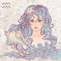 Astrological sign of Aquarius as a portrait of beautiful girl Royalty Free Stock Photo