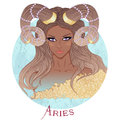 Astrological sign of Aries as a beautiful african american girl Royalty Free Stock Photo