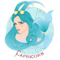 Astrological sign of Capricorn as a beautiful girl Royalty Free Stock Photo