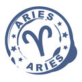 Astrological sign rubber stamp with aries symbol Royalty Free Stock Photo