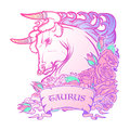 Astrological Taurus  on white background. Royalty Free Stock Photo