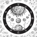 Astrology concept with planets. Hand drawn universe, planetary system and zodiac constellations. Line art vintage vector