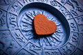 Astrology and love heart inside a plate Stock Photography