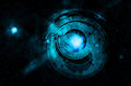 Astrology night sky with clock Royalty Free Stock Photos