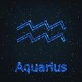 Astrology Shining Blue Symbol. Zodiac Aquarius. Royalty Free Stock Photo