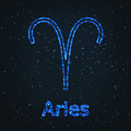 Astrology Shining Blue Symbol. Zodiac Aries. Royalty Free Stock Photo