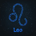 Astrology Shining Blue Symbol. Zodiac Leo. Royalty Free Stock Photo