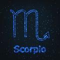 Astrology Shining Blue Symbol. Zodiac Scorpio. Royalty Free Stock Photo