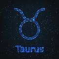 Astrology Shining Blue Symbol. Zodiac Taurus. Royalty Free Stock Photo