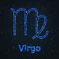 Astrology Shining Blue Symbol. Zodiac Virgo. Royalty Free Stock Photo