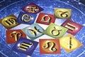 Astrology signs over a blue zodiac cart Stock Photos