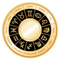 Astrology Wheel, Black Background  Stock Photography