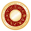 Astrology Wheel, Crimson Background Stock Photo