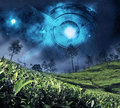 Astrology zodiac on the night sky full of stars Stock Photography