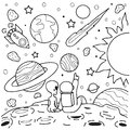 Astronaut and alien girlfriend sitting on mars watching shooting star together, design for design element and coloring book page.V