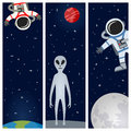 Astronaut alien vertical banners a collection of three with the earth the moon an and astronauts or spacemen floating on a dark Stock Image