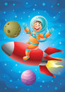 Astronaut boy riding red rocket ship, outer space background
