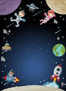 Astronaut cartoon characters on the moon with a alien spaceship. Royalty Free Stock Photo