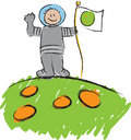 Astronaut - Child's Scribble Royalty Free Stock Images
