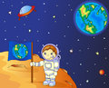 Astronaut with Earth flag on the moon surface in space Royalty Free Stock Photo
