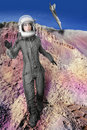 Astronaut fashion stand woman space suit helmet Stock Photo