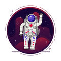 Astronaut is flying in outer space concept vector illustration in flat design with lines elements.