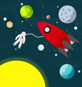 Astronaut flying in the universe with spaceship ve Stock Image