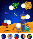 Astronaut martians and rocket in the space complete the puzzle find missing parts of picture vector illustration Royalty Free Stock Images