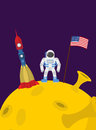 Astronaut on  moon. Cosmic man with the flag of America and rock Royalty Free Stock Photo