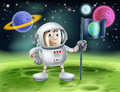 Astronaut outer space cartoon an illustration of an background with a cute planting an earth flag on an alien world Royalty Free Stock Photos