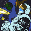 Astronaut in outer space comic book style illustrated Stock Photos