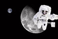 Astronaut in outer space elements of this image furnished by nasa background the moon and our earth Stock Image