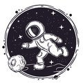 Astronaut plays football. Vector illustration on the theme of astronomy. Outer space