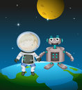 An astronaut beside a robot in the outer space illustration of Stock Images