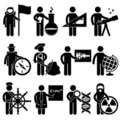 Astronaut Scientist Astrologer Job Pictogram Stock Image
