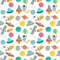 Astronaut space landing planets spaceship seamless pattern background future exploration space ship cosmonaut rocket Royalty Free Stock Photo