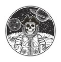 Astronaut space pirate vector modern t-shirt design template